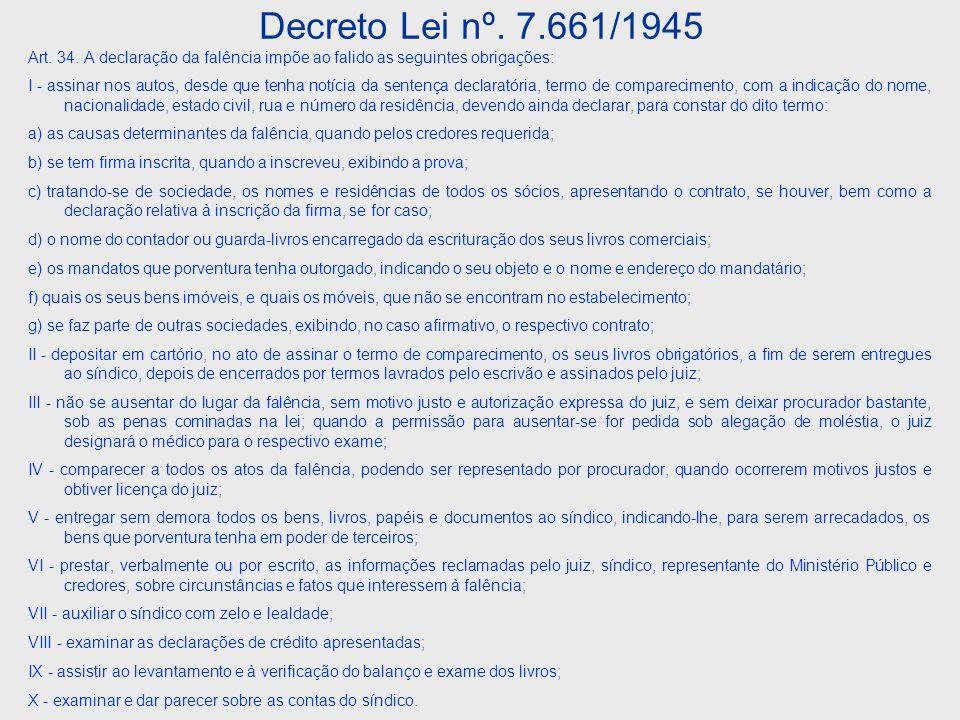 Decreto Lei nº.7.661/1945 Art. 37.