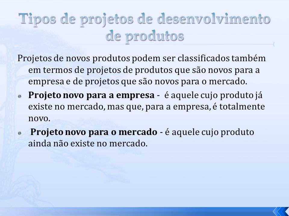 Projetos de novos produtos podem ser classificados também em termos de projetos de produtos que são novos para a empresa e de projetos que são novos p