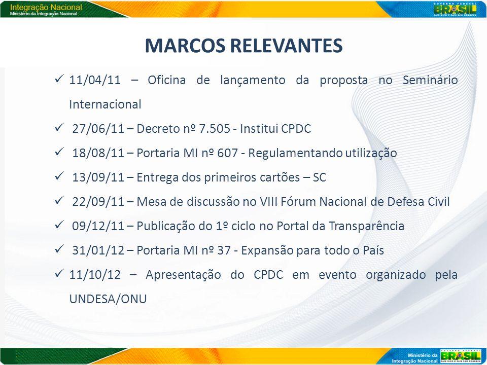 MARCOS RELEVANTES 11/04/11 – Oficina de lançamento da proposta no Seminário Internacional 27/06/11 – Decreto nº 7.505 - Institui CPDC 18/08/11 – Porta