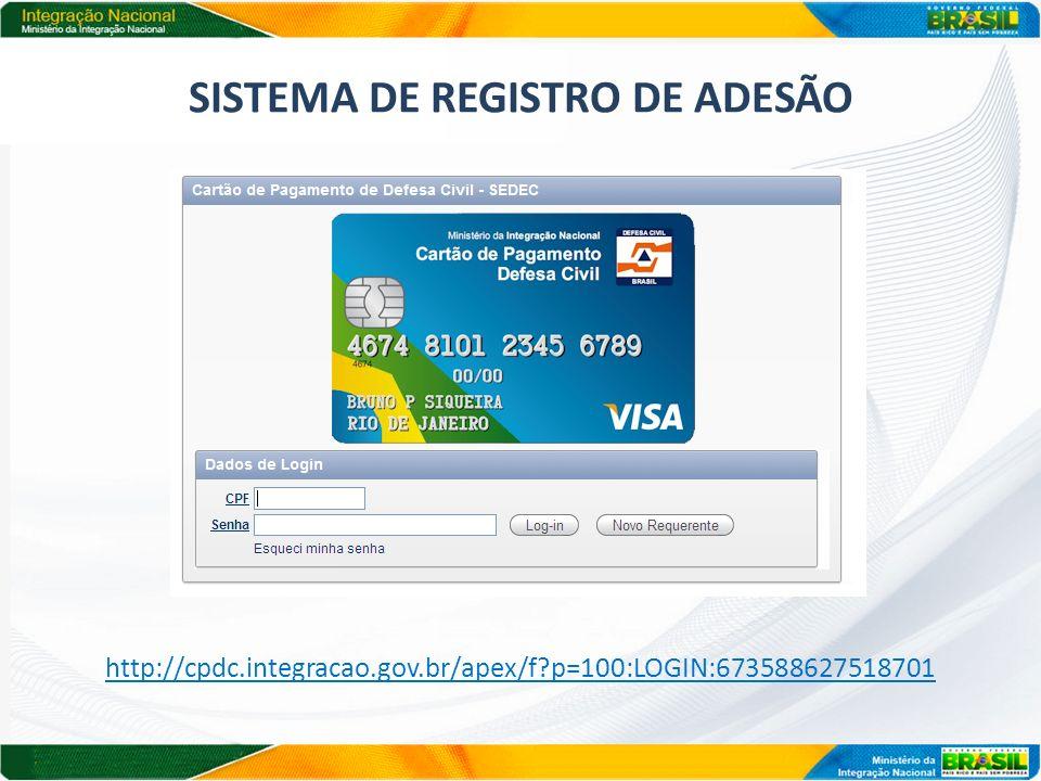 SISTEMA DE REGISTRO DE ADESÃO http://cpdc.integracao.gov.br/apex/f?p=100:LOGIN:673588627518701