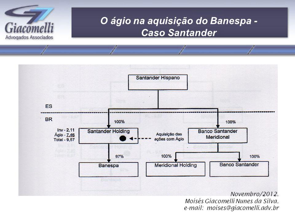 O ágio na aquisição do Banespa - Caso Santander Novembro/2012.