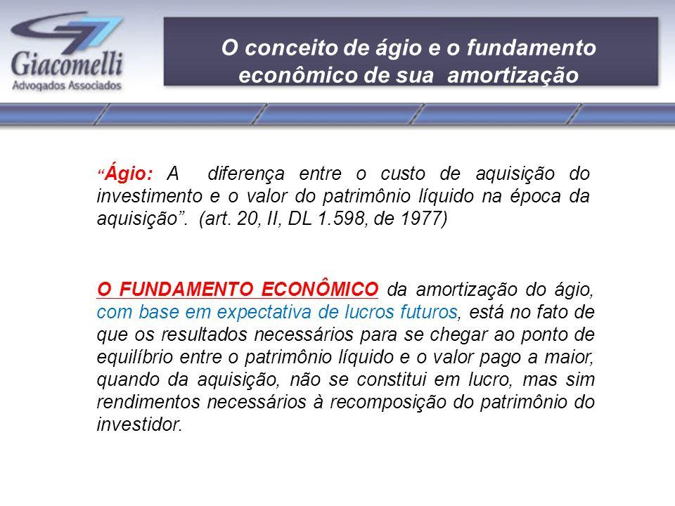 O conceito de ágio e o fundamento econômico de sua amortização Ágio: A diferença entre o custo de aquisição do investimento e o valor do patrimônio líquido na época da aquisição.