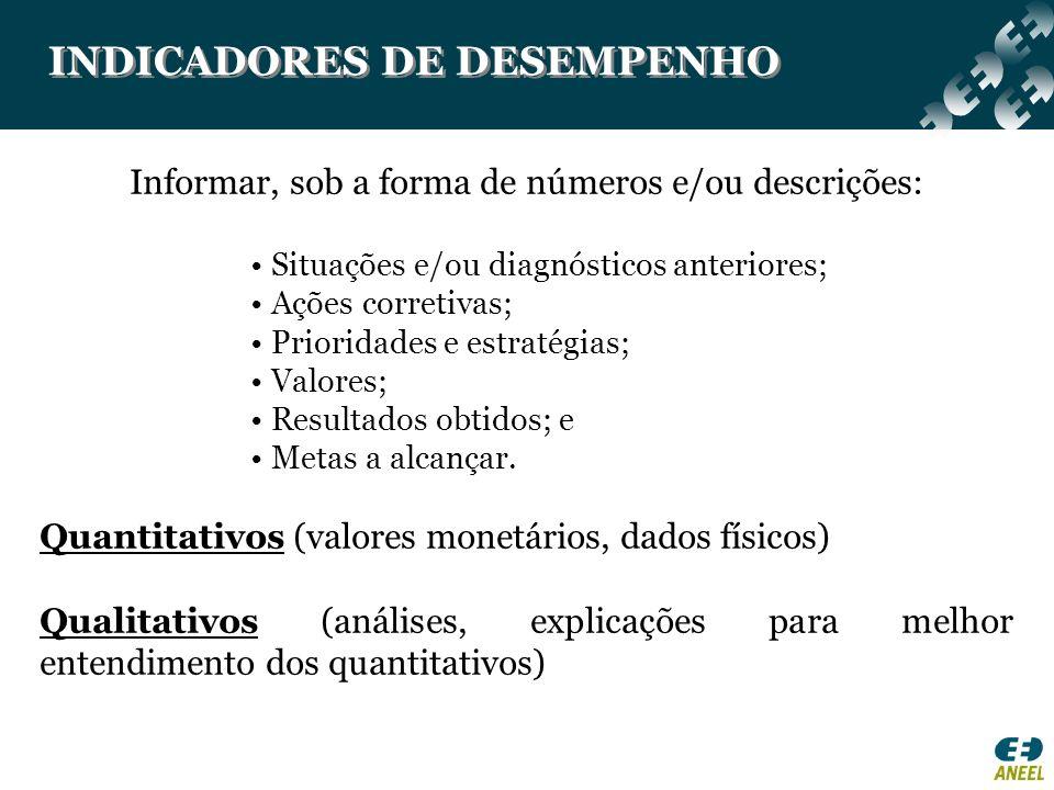 INDICADORES DE DESEMPENHO Informar, sob a forma de números e/ou descrições: Situações e/ou diagnósticos anteriores; Ações corretivas; Prioridades e es