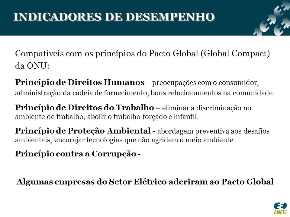 INDICADORES DE DESEMPENHO Compatíveis com os princípios do Pacto Global (Global Compact) da ONU: Princípio de Direitos Humanos – preocupações com o co