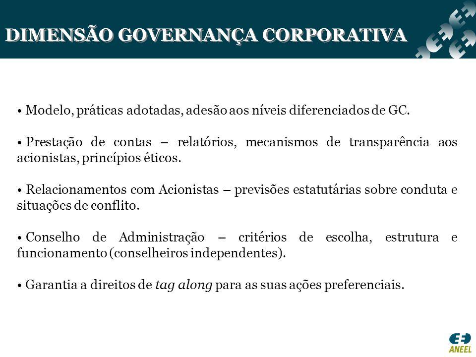 DIMENSÃO GOVERNANÇA CORPORATIVA Modelo, práticas adotadas, adesão aos níveis diferenciados de GC. Prestação de contas – relatórios, mecanismos de tran