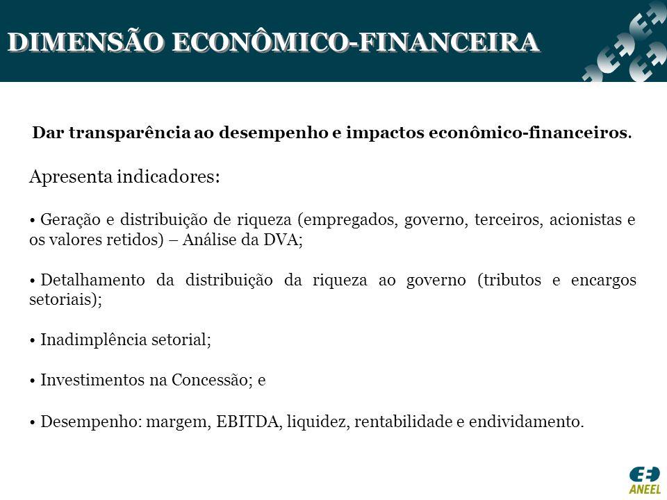 DIMENSÃO ECONÔMICO-FINANCEIRA Dar transparência ao desempenho e impactos econômico-financeiros. Apresenta indicadores: Geração e distribuição de rique