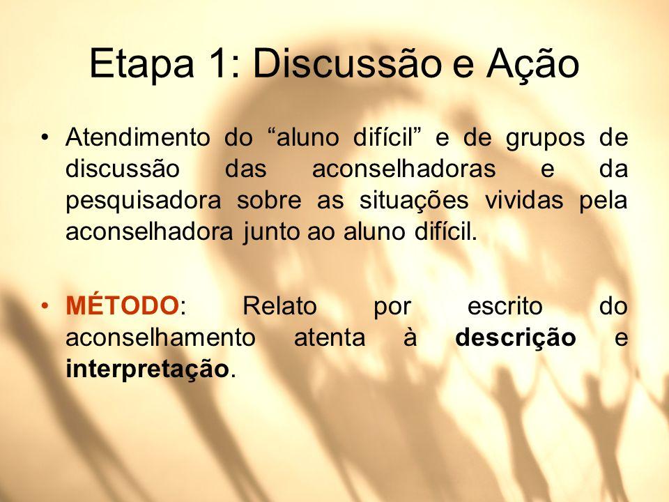 Etapa 1: Discussão e Ação Atendimento do aluno difícil e de grupos de discussão das aconselhadoras e da pesquisadora sobre as situações vividas pela a