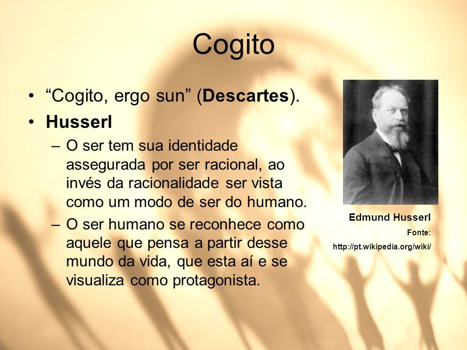 Cogito Cogito, ergo sun (Descartes). Husserl –O ser tem sua identidade assegurada por ser racional, ao invés da racionalidade ser vista como um modo d