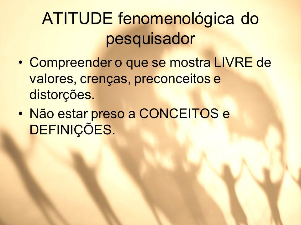 ATITUDE fenomenológica do pesquisador Compreender o que se mostra LIVRE de valores, crenças, preconceitos e distorções. Não estar preso a CONCEITOS e