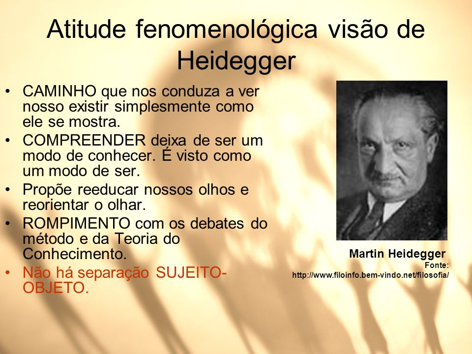 Atitude fenomenológica visão de Heidegger CAMINHO que nos conduza a ver nosso existir simplesmente como ele se mostra. COMPREENDER deixa de ser um mod