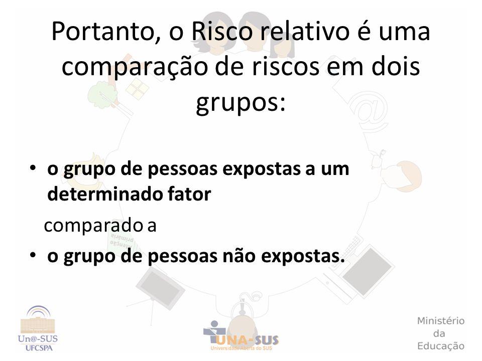 Portanto, o Risco relativo é uma comparação de riscos em dois grupos: o grupo de pessoas expostas a um determinado fator comparado a o grupo de pessoa