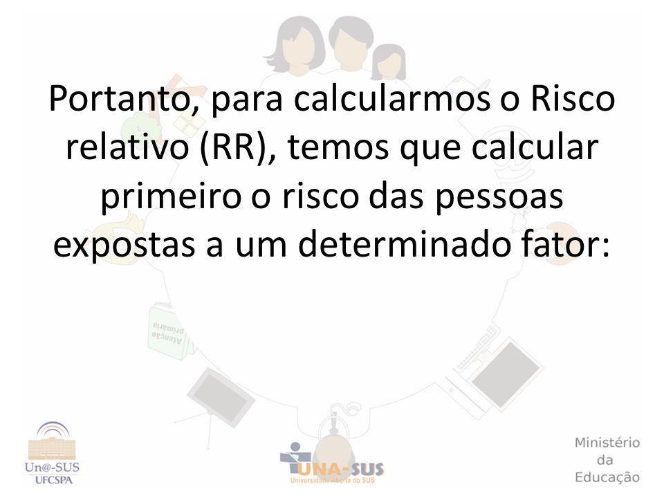 Portanto, para calcularmos o Risco relativo (RR), temos que calcular primeiro o risco das pessoas expostas a um determinado fator: