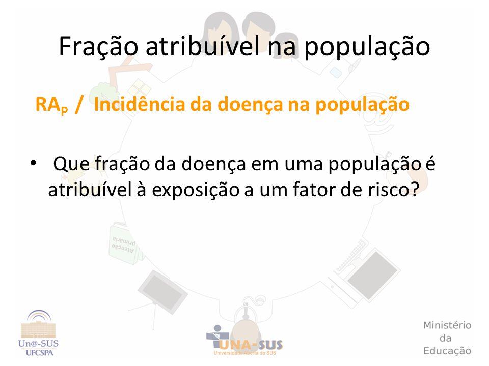 Fração atribuível na população RA P / Incidência da doença na população Que fração da doença em uma população é atribuível à exposição a um fator de r
