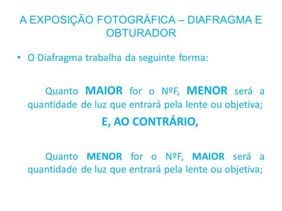 O Diafragma trabalha da seguinte forma: Quanto MAIOR for o NºF, MENOR será a quantidade de luz que entrará pela lente ou objetiva; E, AO CONTRÁRIO, Qu