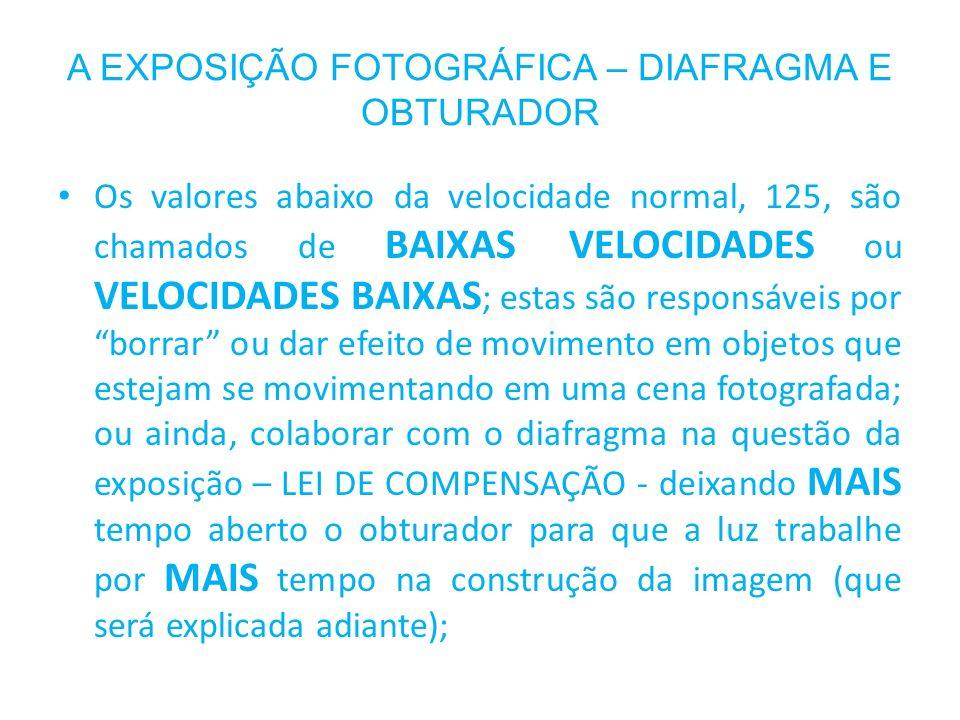 A EXPOSIÇÃO FOTOGRÁFICA – DIAFRAGMA E OBTURADOR Os valores abaixo da velocidade normal, 125, são chamados de BAIXAS VELOCIDADES ou VELOCIDADES BAIXAS