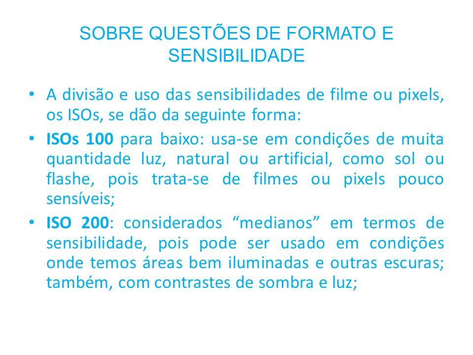 SOBRE QUESTÕES DE FORMATO E SENSIBILIDADE A divisão e uso das sensibilidades de filme ou pixels, os ISOs, se dão da seguinte forma: ISOs 100 para baix