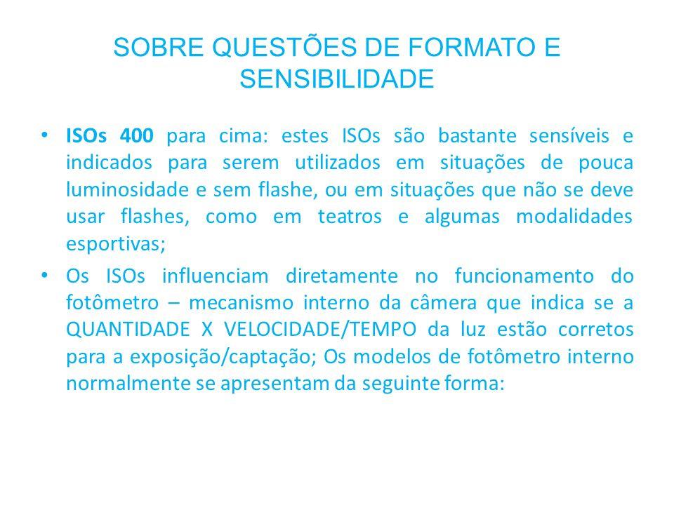 SOBRE QUESTÕES DE FORMATO E SENSIBILIDADE ISOs 400 para cima: estes ISOs são bastante sensíveis e indicados para serem utilizados em situações de pouc