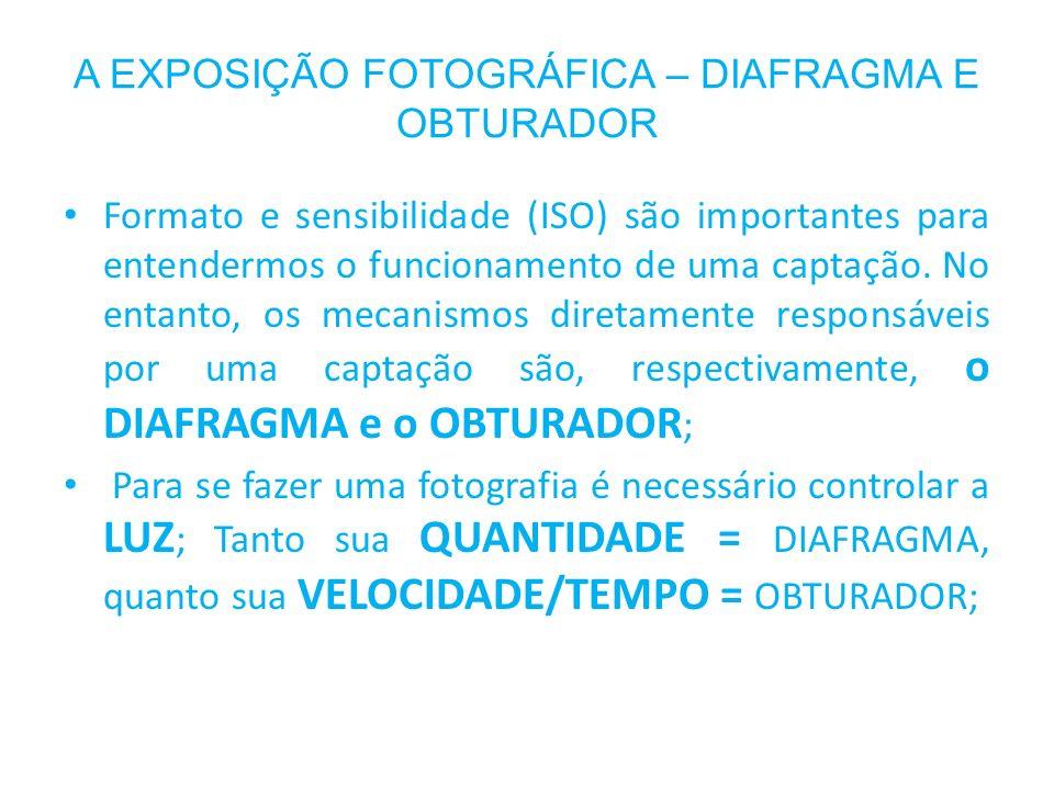 A EXPOSIÇÃO FOTOGRÁFICA – DIAFRAGMA E OBTURADOR Formato e sensibilidade (ISO) são importantes para entendermos o funcionamento de uma captação. No ent