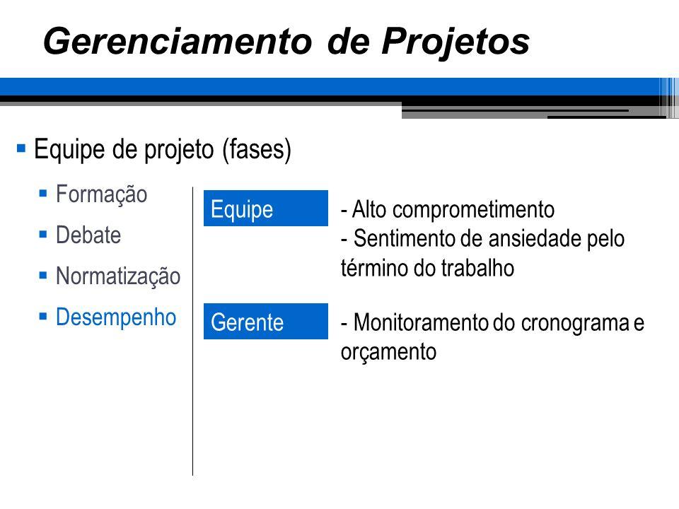 Gerenciamento de Projetos Equipe de projeto (fases) Formação Debate Normatização Desempenho Equipe- Alto comprometimento - Sentimento de ansiedade pel