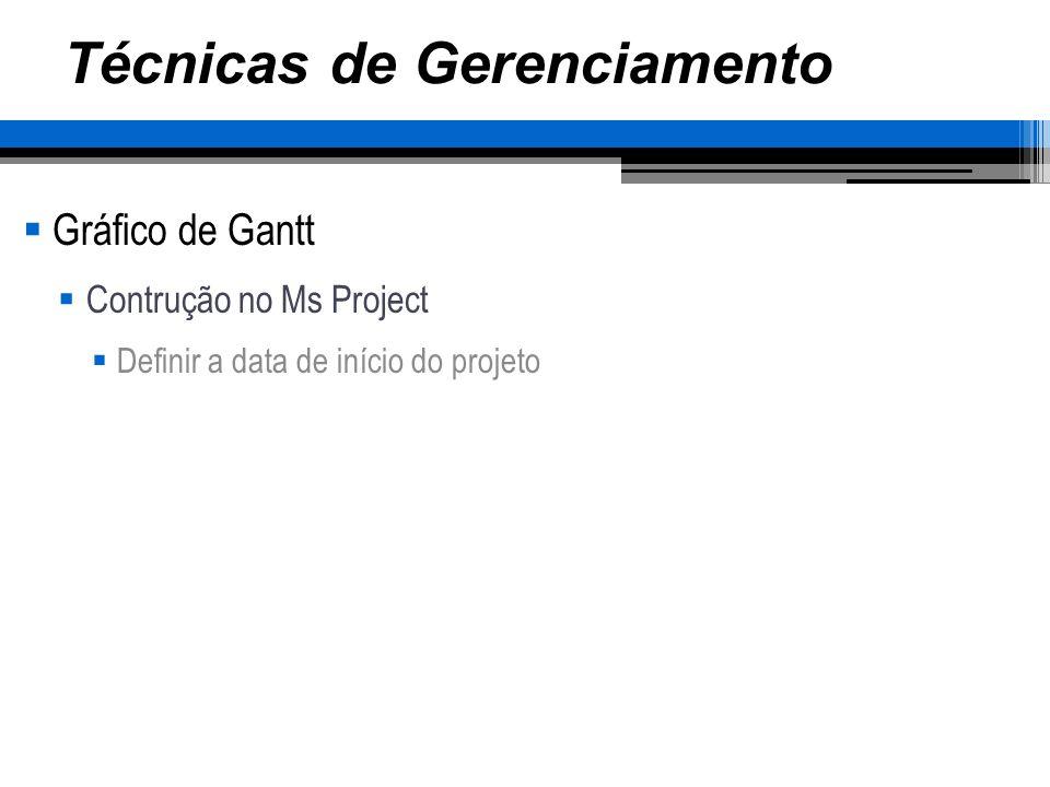 Técnicas de Gerenciamento Gráfico de Gantt Contrução no Ms Project Definir a data de início do projeto