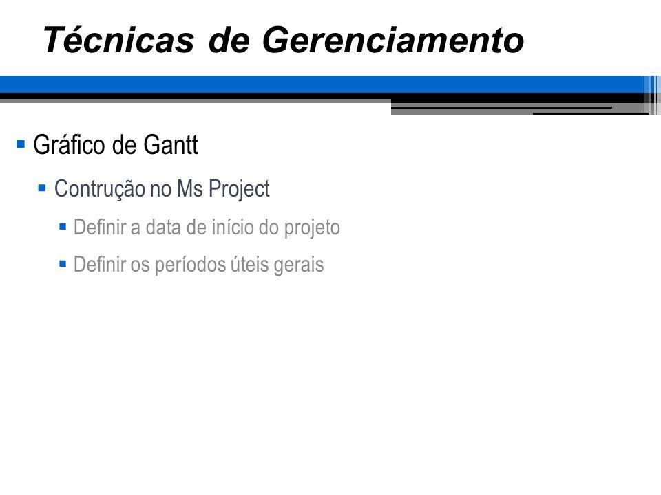 Técnicas de Gerenciamento Gráfico de Gantt Contrução no Ms Project Definir a data de início do projeto Definir os períodos úteis gerais