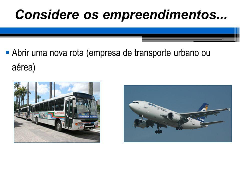 Abrir uma nova rota (empresa de transporte urbano ou aérea)