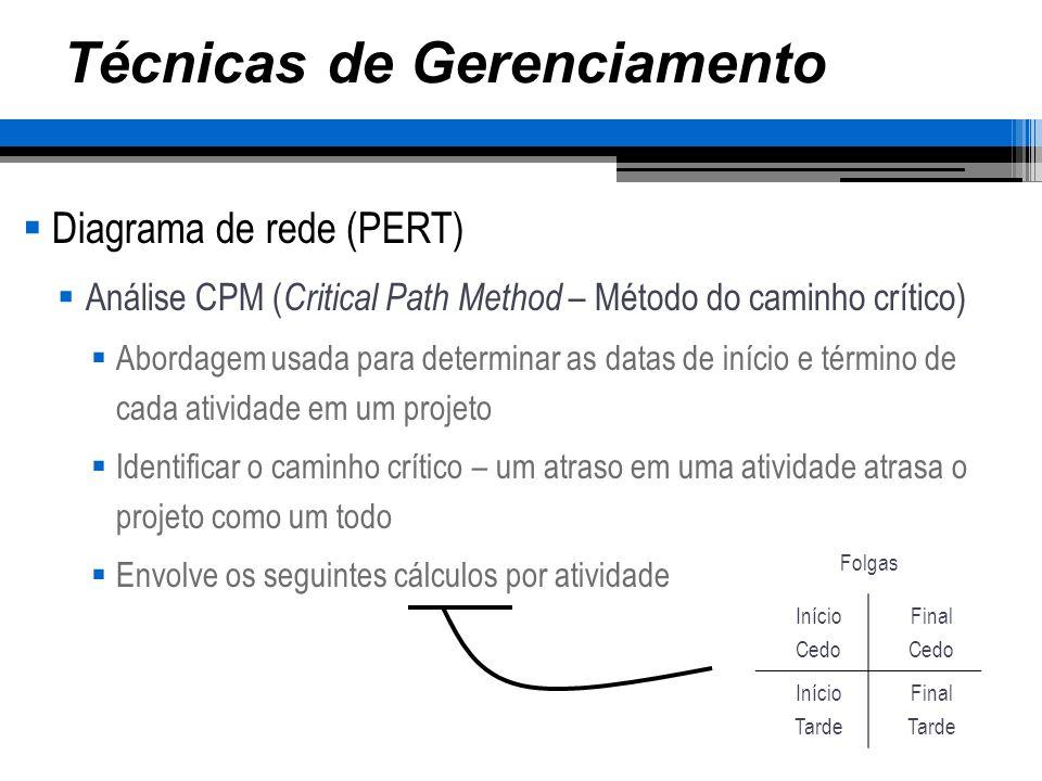 Técnicas de Gerenciamento Diagrama de rede (PERT) Análise CPM ( Critical Path Method – Método do caminho crítico) Abordagem usada para determinar as d