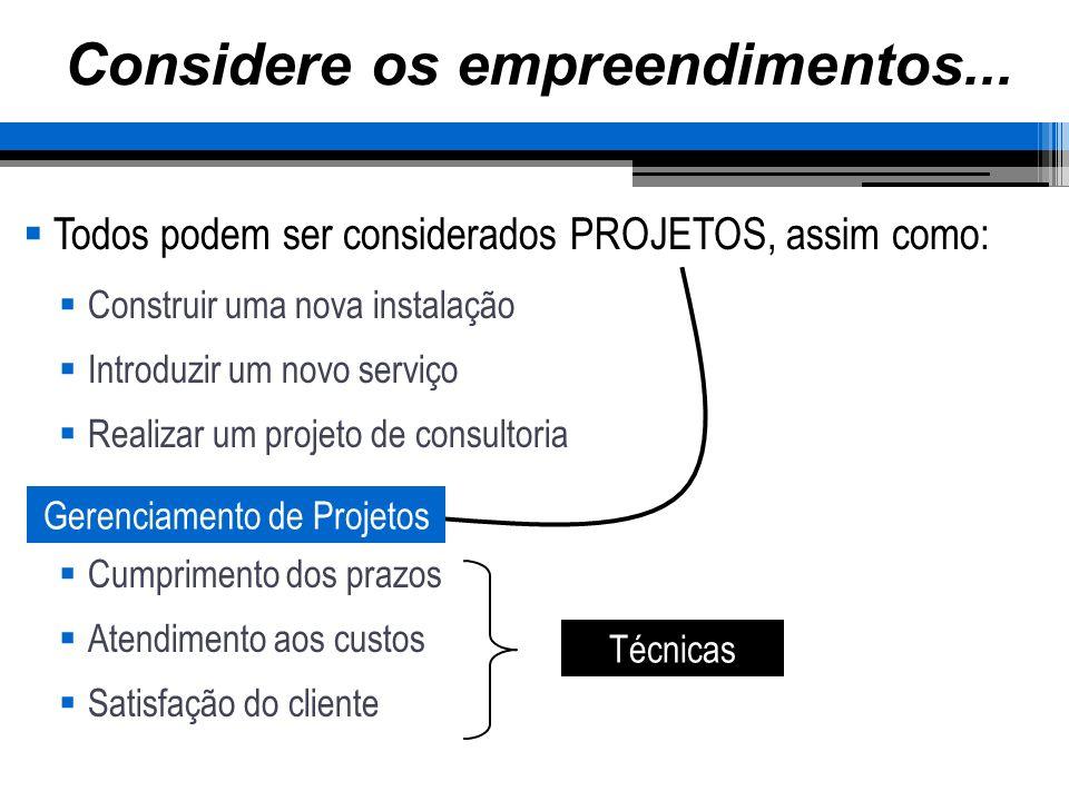 Considere os empreendimentos... Todos podem ser considerados PROJETOS, assim como: Construir uma nova instalação Introduzir um novo serviço Realizar u