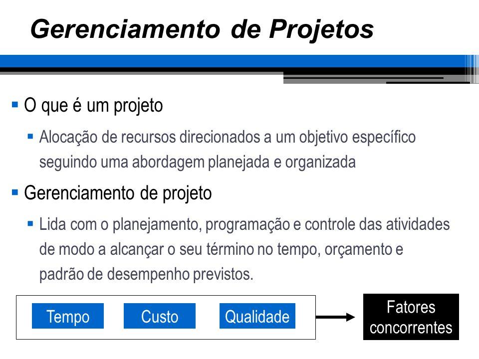Processo de Gerenciamento Programação Estimativa de tempo e de custo para cada elemento de trabalho Determinação das relações de precedência Alocação de recursos