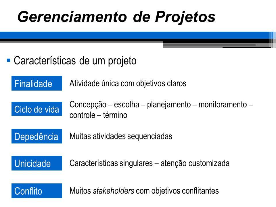 Gerenciamento de Projetos Características de um projeto Finalidade Ciclo de vida Depedência Unicidade Atividade única com objetivos claros Concepção –