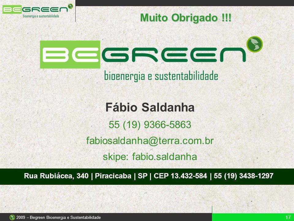 Muito Obrigado !!! 17 2009 – Begreen Bioenergia e Sustentabilidade Fábio Saldanha 55 (19) 9366-5863 fabiosaldanha@terra.com.br skipe: fabio.saldanha R