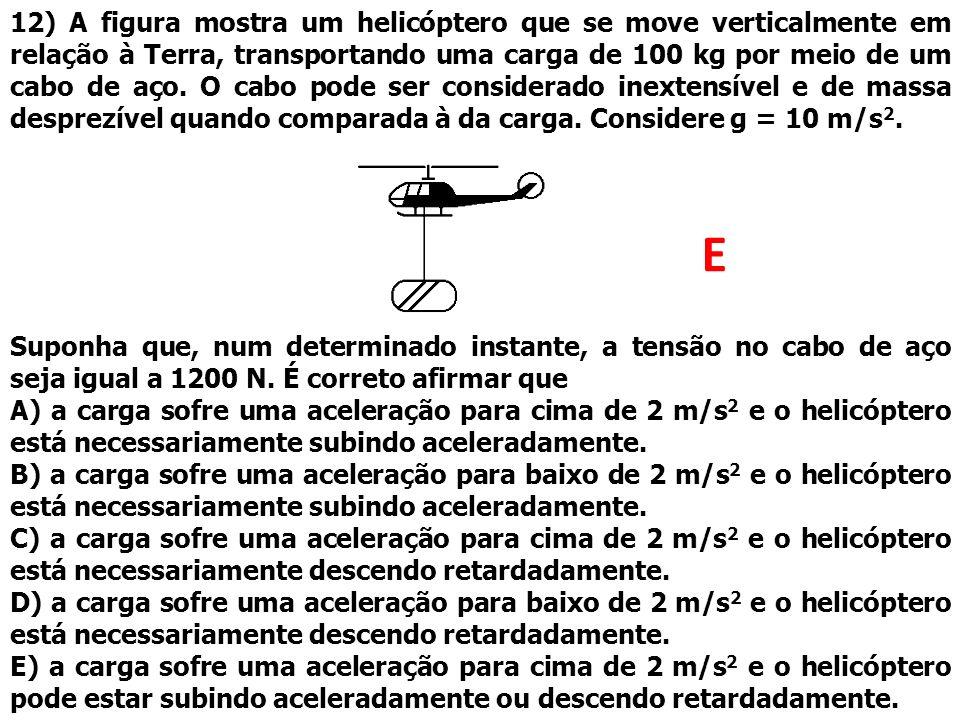 12) A figura mostra um helicóptero que se move verticalmente em relação à Terra, transportando uma carga de 100 kg por meio de um cabo de aço. O cabo