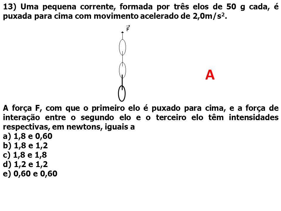 13) Uma pequena corrente, formada por três elos de 50 g cada, é puxada para cima com movimento acelerado de 2,0m/s 2. A força F, com que o primeiro el
