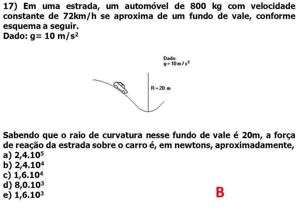 17) Em uma estrada, um automóvel de 800 kg com velocidade constante de 72km/h se aproxima de um fundo de vale, conforme esquema a seguir. Dado: g= 10
