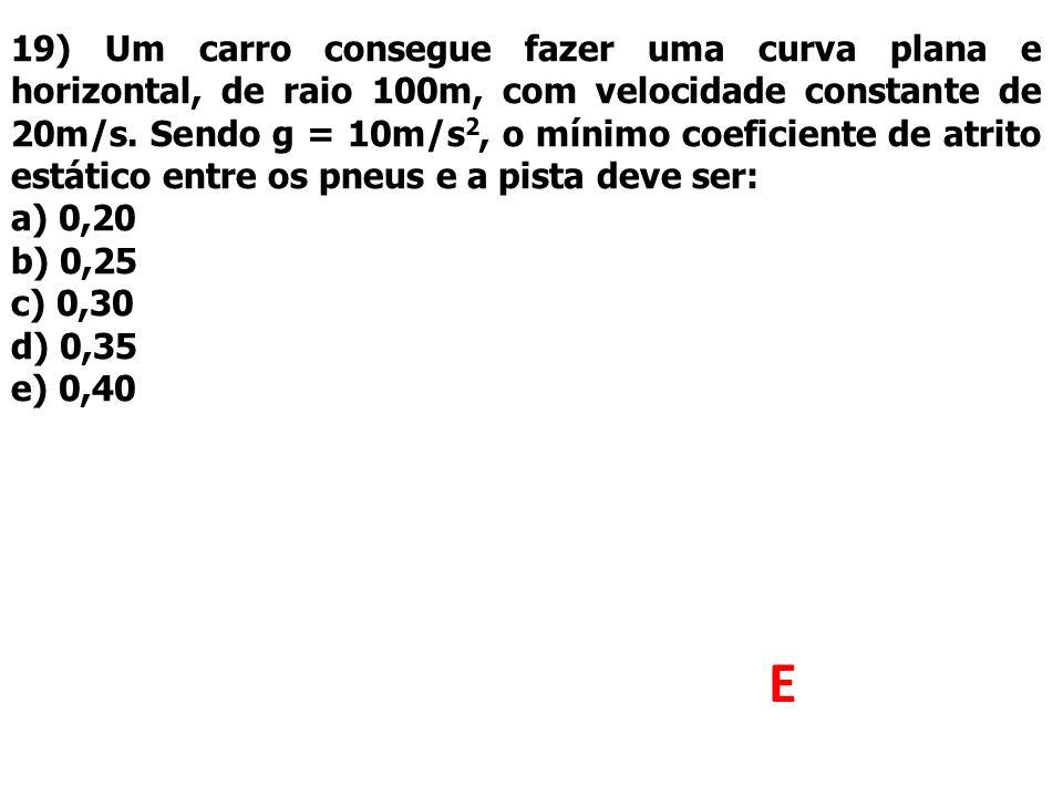 19) Um carro consegue fazer uma curva plana e horizontal, de raio 100m, com velocidade constante de 20m/s. Sendo g = 10m/s 2, o mínimo coeficiente de