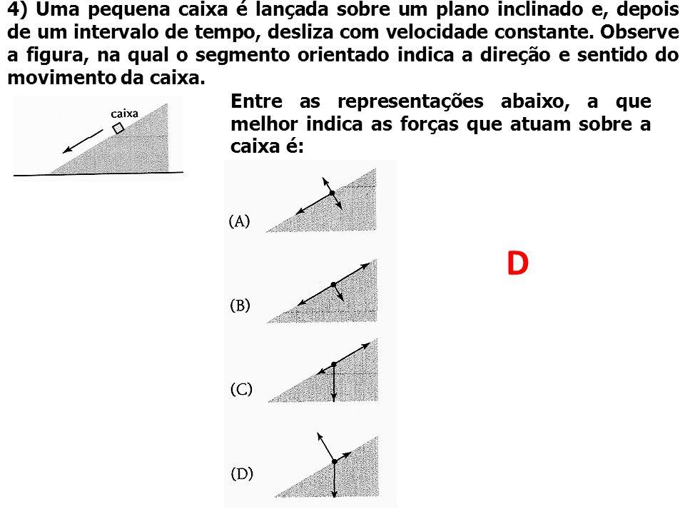 4) Uma pequena caixa é lançada sobre um plano inclinado e, depois de um intervalo de tempo, desliza com velocidade constante. Observe a figura, na qua
