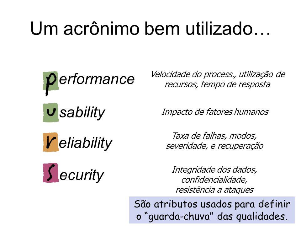 Atributos runtime Atributos runtime afetam a execução do sistema em produção Cenários devem ser descritos com foco em instâncias específicas da execuç