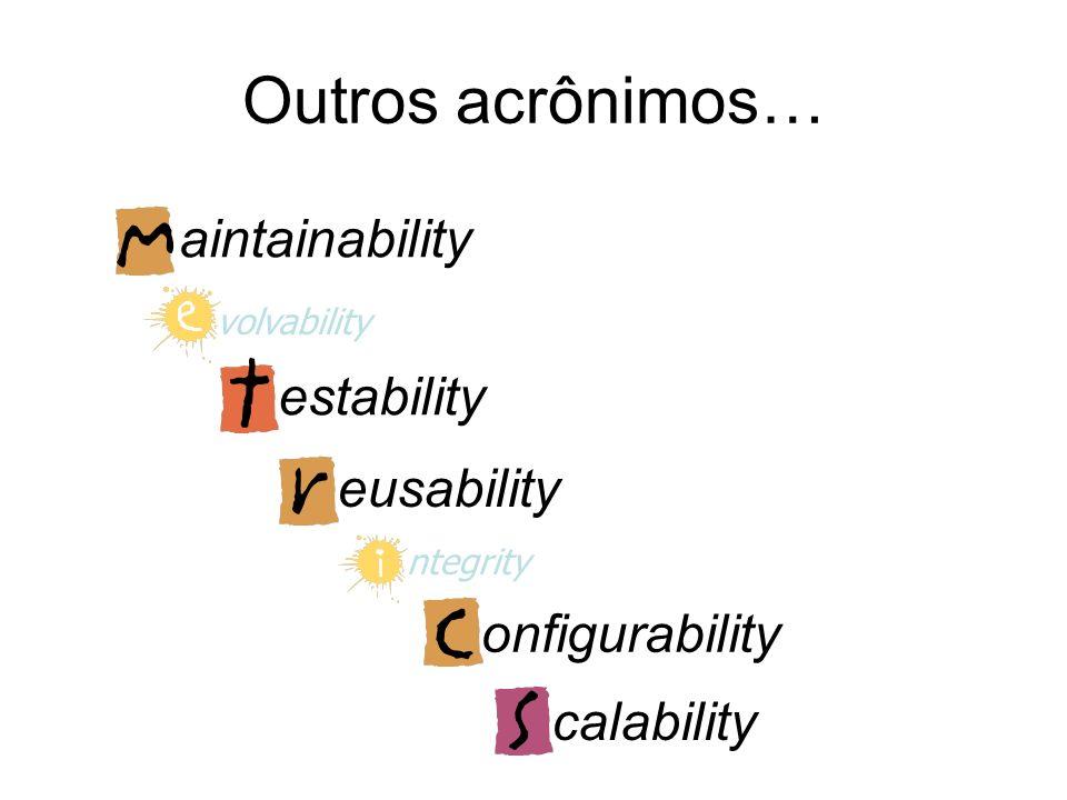Qualidades não ligadas à execução São mais ligadas à vida útil do sistema Cenários são expressados em termos de incidentes que ocorrem durante o desen