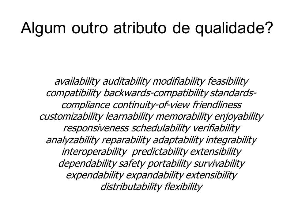 Outros acrônimos… aintainability estability eusability onfigurability calability volvability ntegrity