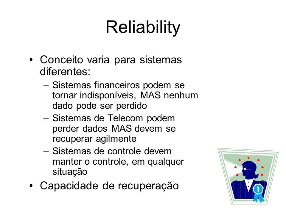 Reliability Um campo complexo: –Falhas de hardware/software –Mean time to failure (MTTF) –Mean time to repair (MTTR) Demandas por Reliability dependem