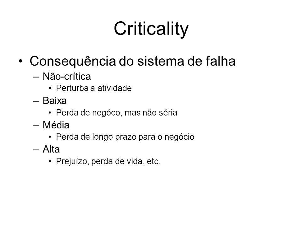 Reliability Conceito varia para sistemas diferentes: –Sistemas financeiros podem se tornar indisponíveis, MAS nenhum dado pode ser perdido –Sistemas d