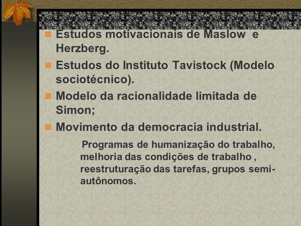 Estudos motivacionais de Maslow e Herzberg. Estudos do Instituto Tavistock (Modelo sociotécnico). Modelo da racionalidade limitada de Simon; Movimento