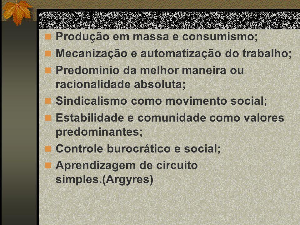 Produção em massa e consumismo; Mecanização e automatização do trabalho; Predomínio da melhor maneira ou racionalidade absoluta; Sindicalismo como movimento social; Estabilidade e comunidade como valores predominantes; Controle burocrático e social; Aprendizagem de circuito simples.(Argyres)