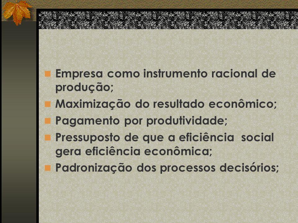 Empresa como instrumento racional de produção; Maximização do resultado econômico; Pagamento por produtividade; Pressuposto de que a eficiência social gera eficiência econômica; Padronização dos processos decisórios;