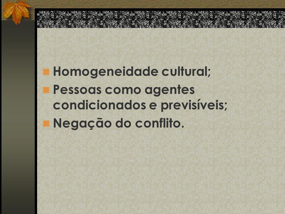 Homogeneidade cultural; Pessoas como agentes condicionados e previsíveis; Negação do conflito.