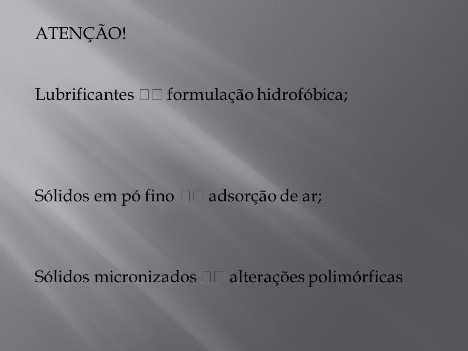 ATENÇÃO! Lubrificantes formulação hidrofóbica; Sólidos em pó fino adsorção de ar; Sólidos micronizados alterações polimórficas