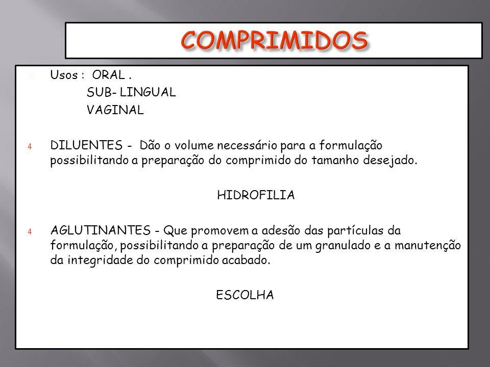 Usos : ORAL. SUB- LINGUAL VAGINAL 4 DILUENTES - Dão o volume necessário para a formulação possibilitando a preparação do comprimido do tamanho desejad