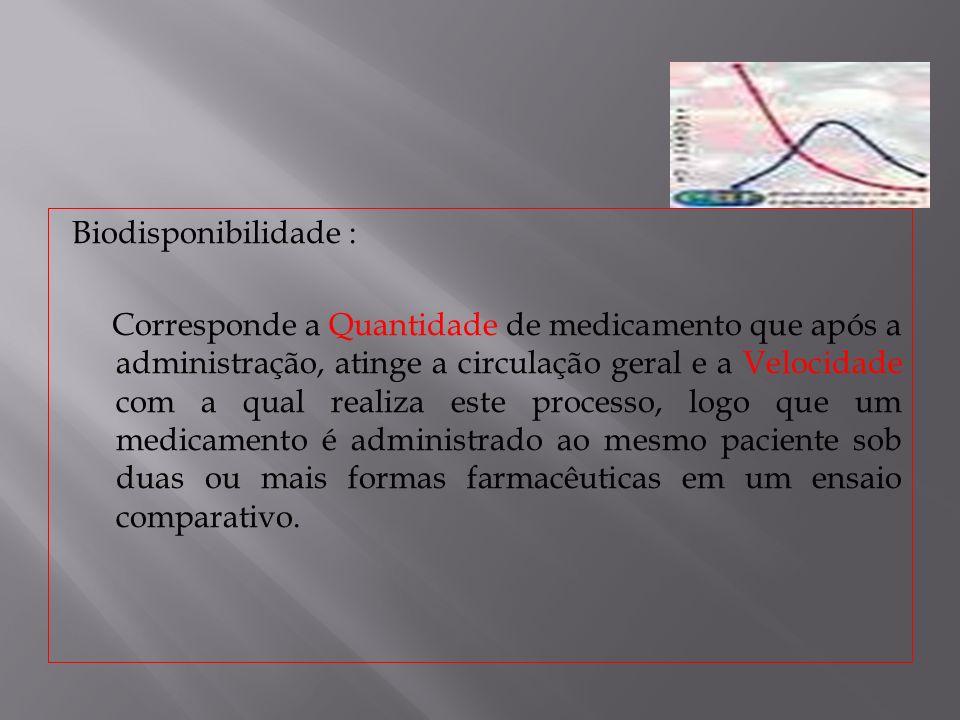 Biodisponibilidade : Corresponde a Quantidade de medicamento que após a administração, atinge a circulação geral e a Velocidade com a qual realiza est