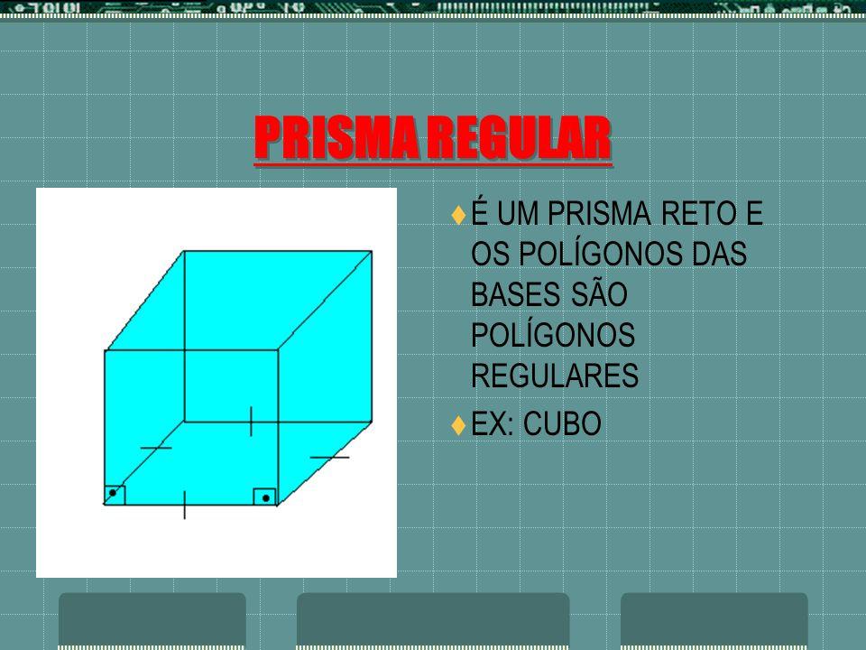 PRISMA REGULAR É UM PRISMA RETO E OS POLÍGONOS DAS BASES SÃO POLÍGONOS REGULARES EX: CUBO