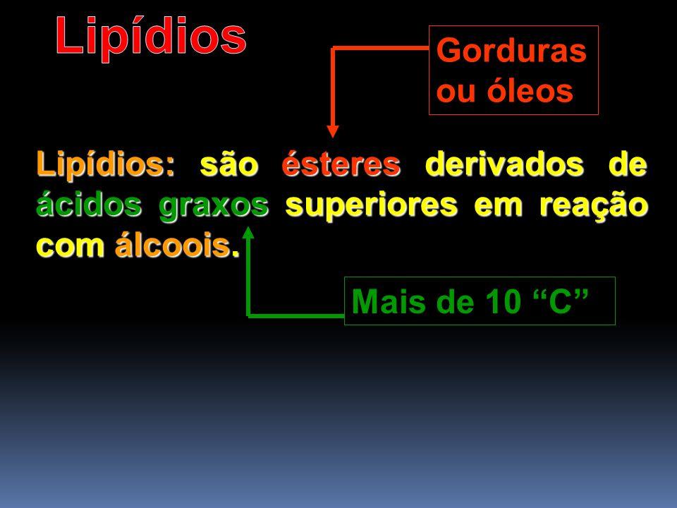 Lipídios: são ésteres derivados de ácidos graxos superiores em reação com álcoois. Gorduras ou óleos Mais de 10 C